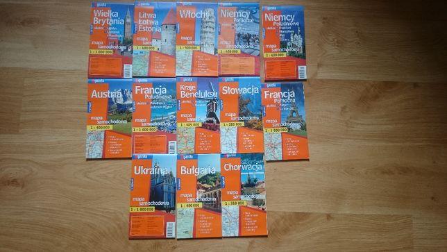 Mapy samochodowe różnych krajów - 13 sztuk. Przesyłka gratis.
