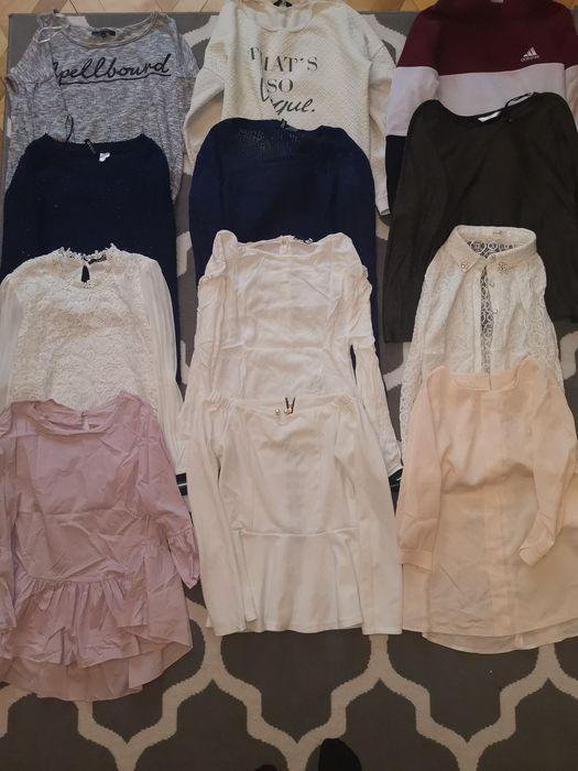 Zestaw paka 12 ubrań bluza bluzka koszula sweterek rozm M S Borowie - image 1