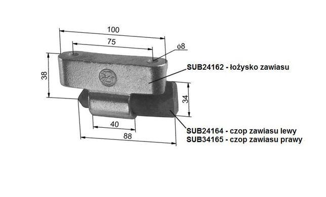 Zawias burty aluminiowej L100 - dolna cześć spawalna