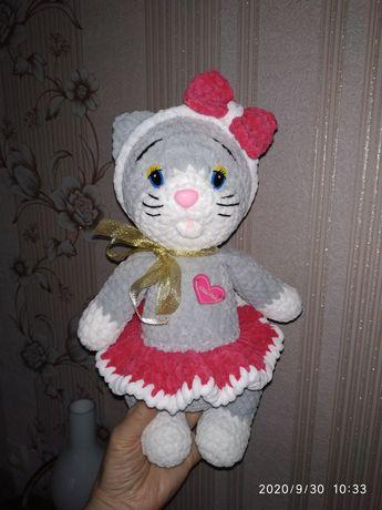 Вязаная игрушка Кошечка  зефирная. Кошка, Котик, Котёнок