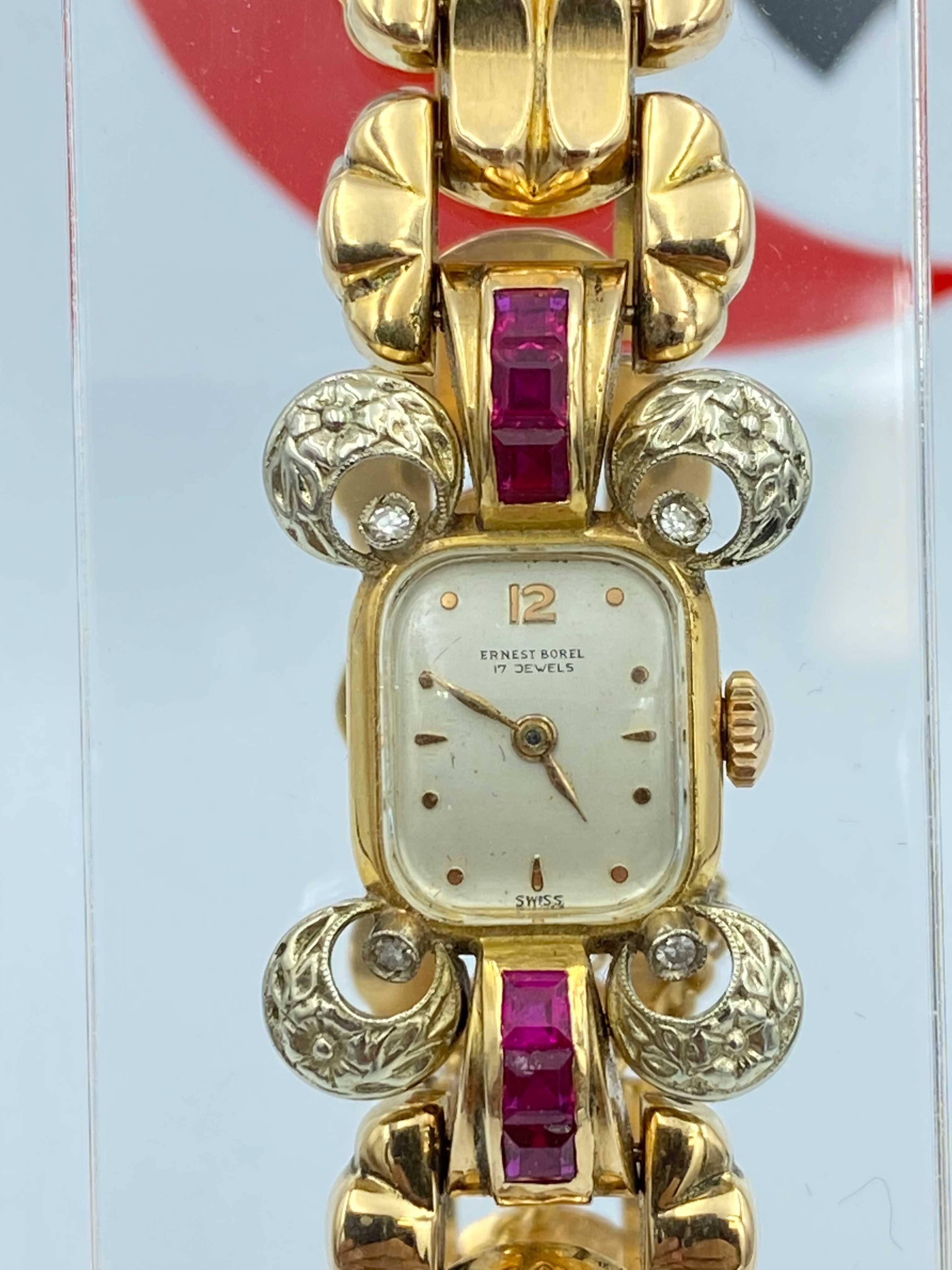 Zegarek złoty 18k Ernest Borel z brylantami i rubinami