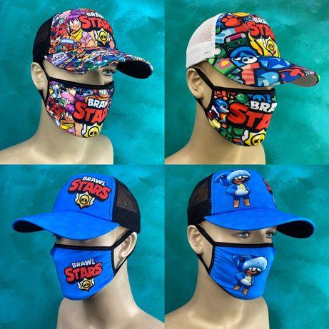 Кепка бравл старс бейсболка brawl stars маска на лицо кепка с маской