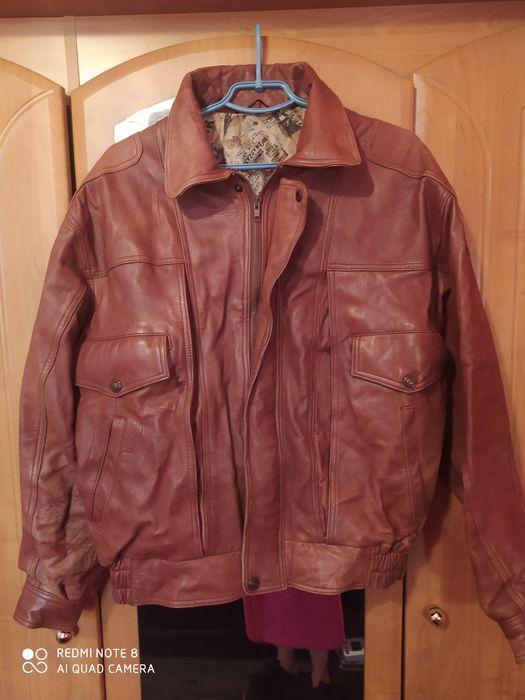 Винтажная кожанная куртка-бомбер! Отличное качество! Одесса - изображение 1