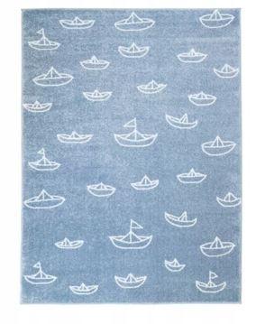Dywan niebieski w łódeczki do pokoju dziecięcego 80 x 150 cm