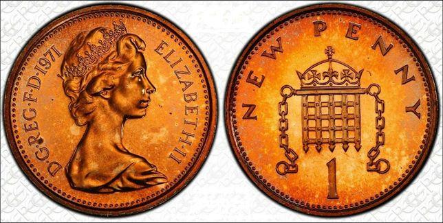 1971 WIELKA BRYTANIA jeden nowy penny
