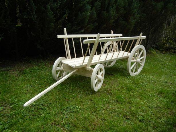 Wóz drewniany drabiniasty dekoracja ogrodowy ekspozytor