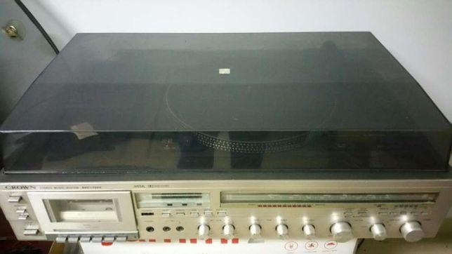 Gira discos rádio e gravador de cassetes marca CROWN SHC-7000