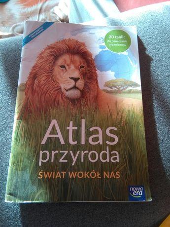 """Atlas przyroda""""Świat wokół nas"""",szkoła podstawowa 2017r Nowa Era."""