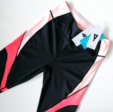 4F Legginsy S/36 treningowe sportowe czarne fitnes yoga spodnie dresy