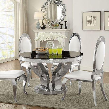 Stół glamour Davson okrągły stal szlachetna srebrna blat szklany