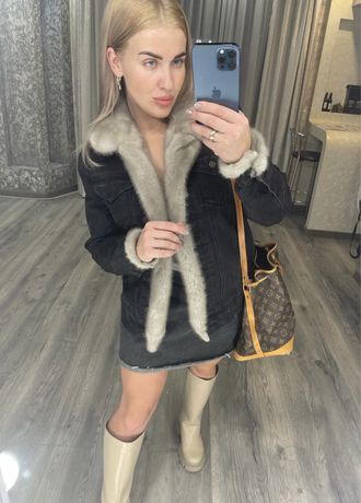 Джинсовка,джинсовая куртка с мехом норки S-M сумочка в подарок