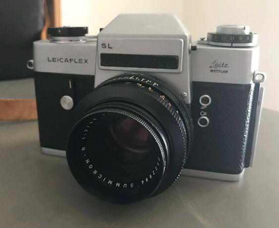 Leica SL com 3 lentes, estojo e acessórios.