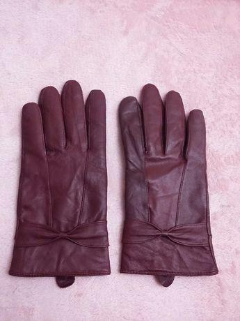 Skórzane bordowe rękawiczki S/M