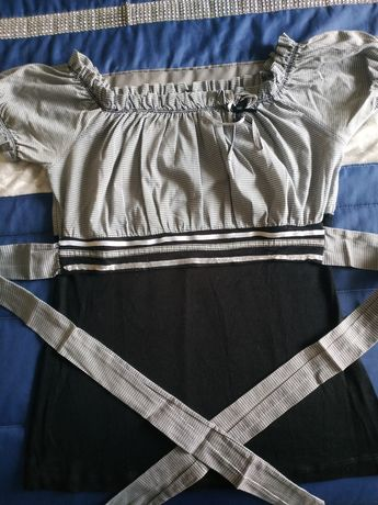 Blusa preta e branca da Origem