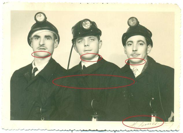 Stare zdjęcie górnik górnicy lampa podpis