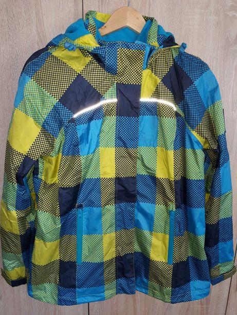 Kurtka jesienna kolor niebiesko/żółty kratka