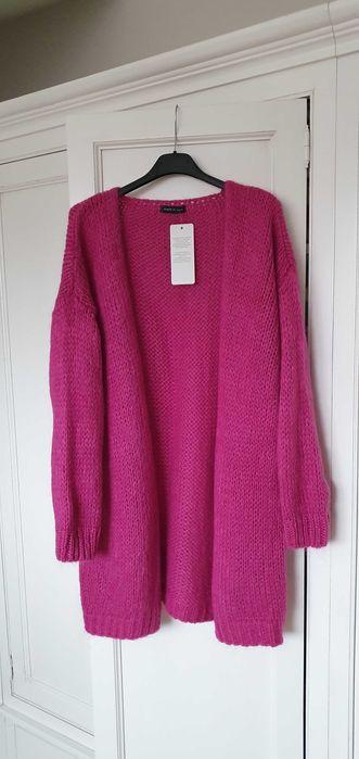 Kardigan sweter włoski fuksja różowy amarant moher wełna S M Italy Poznań - image 1
