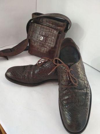 Туфли крокодил кожа Armani Ricci Brioni Италия оригинал