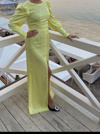 Лимонное платье