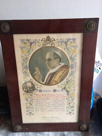 Quadro antigo assinado pelo papa, arte sacra
