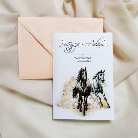 Zaproszenia ślubne z motywem koni