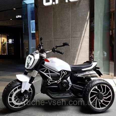 Мотоцикл DUCATI M 4008, детский электромобиль, резиновые колеса, кожа