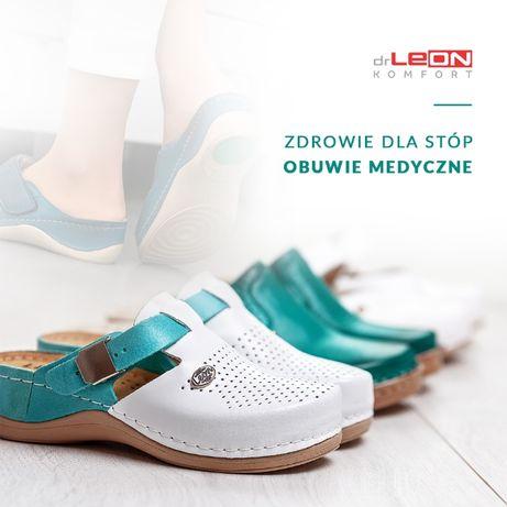 Buty medyczne , klapki medyczne, obuwie zdrowotne, skórzane.