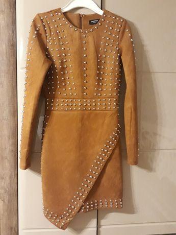Sukienka krótka mini camel ćwieki