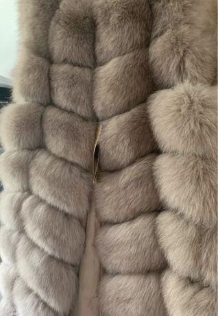 Kamizelka naturalne futro lis 90cm długa xs 34 s 36 nowa metki