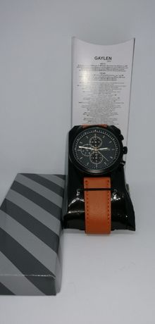 Nowy zegarek męski Gaylen Watch F33400 brązowy pasek czarna tarcza