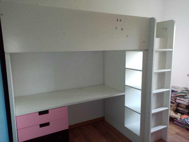 Cama alta de criança Ikea Smastad/Stuva com secretária/roupeiro