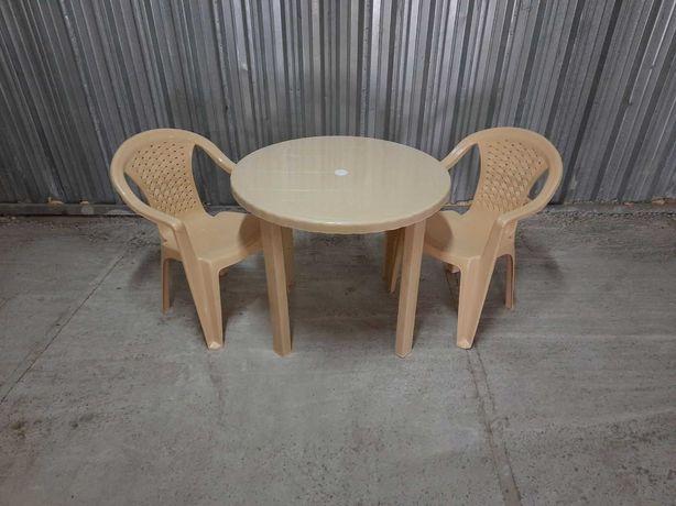 Комплект пластиковой мебели стол круглый + стулья пластиковые