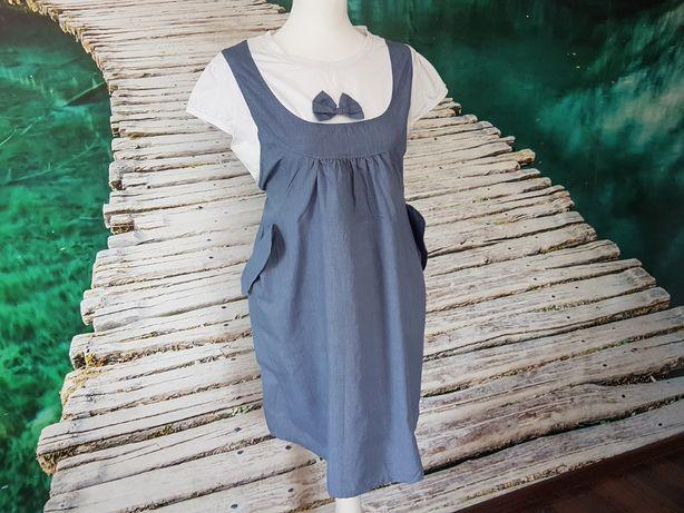 Sukienka Ciążowa Niebieska Biała Kokardka M L XL Guziczki