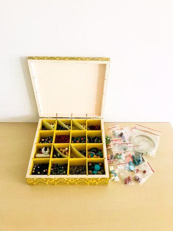 Koraliki, zestaw do robiania biżuterii
