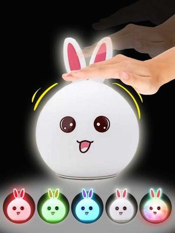 Детский ночник светильник кролик зайчик силиконовый беспроводной