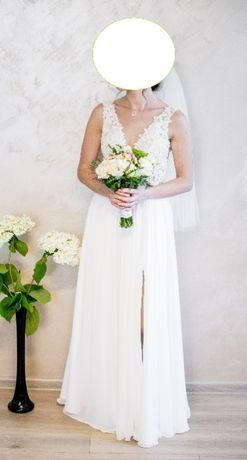suknia ślubna r. S na wzrost 160 cm + 10 cm obcas