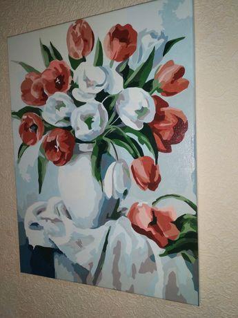 Идейка готовая картина по номерам букет ярких тюльпанов цветы красные
