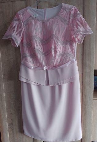 Sukienka wizytowa z baskinką r. 40, pasuje też na 42, pudrowy róż