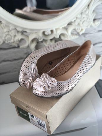 Baleriny balerinki różowe perłowy róż 38 CCC Quazi