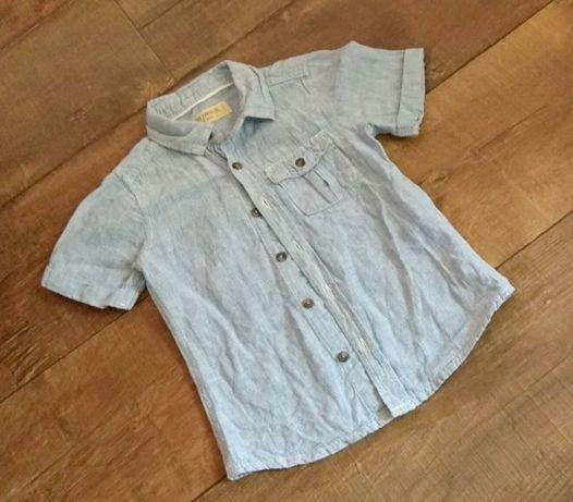 Рубашка next 2-3г 92-98см летняя голубая короткий рукав для мальчика