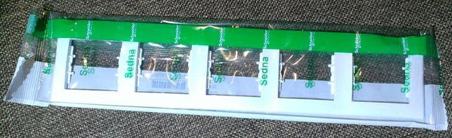 Рамка 5-постовая горизонтальная Schneider Electric Sedna, белый