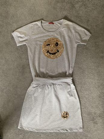 Super komplet szary ZESTAW spódnica i bluzka ZŁOTO roz. S / M dres