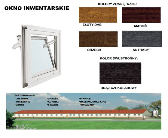 Okna inwentarskie SZYBA podwójna 6-komowowe Okno do chlewni,hal,obór