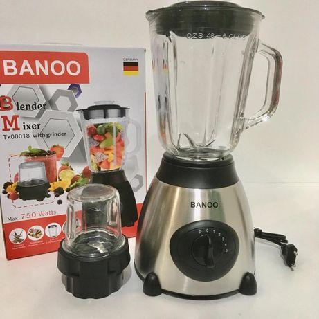 Блендер BANNO 1.5L 750W мощный блендер для смузи + стеклянная Чаша
