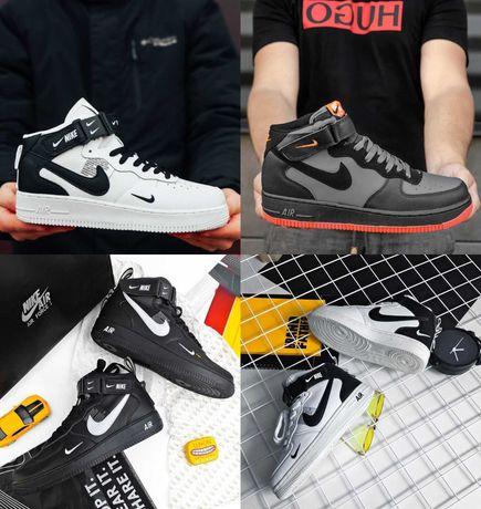 Кроссовки Nike Air Force 1 Mid '07 LV8 White Black 36-46 Кожа! Топ