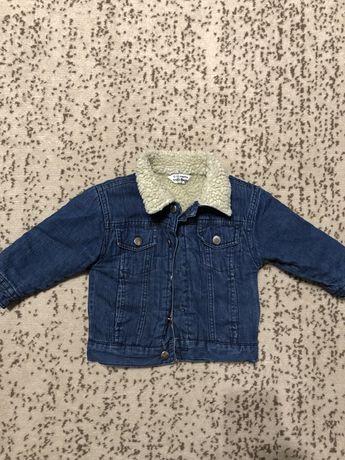 Ддинсовая курточка на меху, 6-12 мес