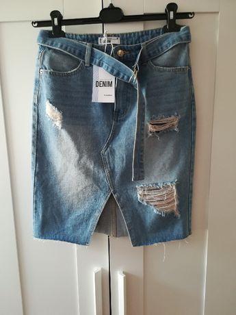 Spódniczka jeansowa dziury przetarcia wysoki stan pasek denim S nowa