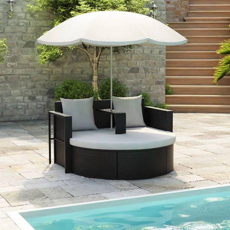 vidaXL Espreguiçadeira para jardim com guarda-sol vime PE preto 40735
