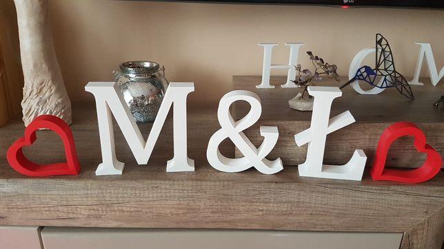 LITERY 3d 15cm inicjały na stół WESELE ślub dekoracje plastik napis