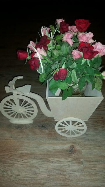 Stojak na kwiaty kwietnik rower drewno